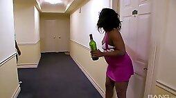 Ebony hooker is eager for huge black dick of her neighbor