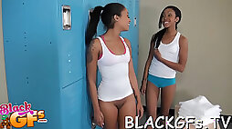 Guy inserts cock in black twat