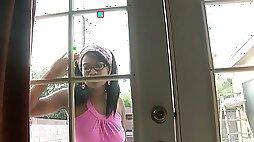 Ebony whorish chick Amber Stars hooks up with hot blooded BBC neighbor