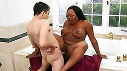 Naughty Latin boy seduced by friends Ebony BBW mom in bath
