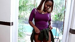 Ebony Harmonie Marquise gets her rack pumped by a white cock on the pool table