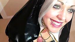 Slutty Nun Sucks knob till she gets A Sticky Sperm Confession on her Face - POV cosplay