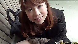 Asian teen strokes vag