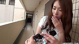 Pretty coy Japanese girl Akari Niiyama is fucked by barely known guy