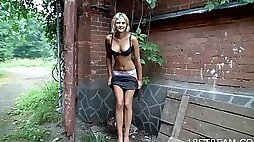 Naughty Blonde Goes For a Walk and an Orgasm