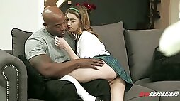 Lovely vivid coed chick Kristen Scott is fucked by black hunk doggy