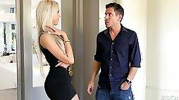 Posh blond milf Nina Elle gives the best ever titjob and gets her muff slammed