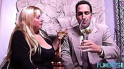 Classy erotic BBW Cassie Blanca has sex at fireplace after a glass of wine