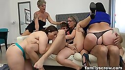 Crazy sex party with chubby old whores