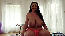 Juliana showing off her massive tits during gym