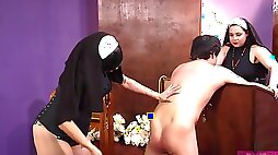 Nuns are sharing dick in a kinky fetish
