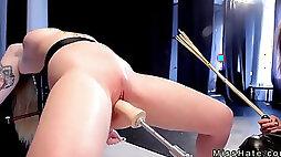 Blonde in device bondage spanked and fucks machine