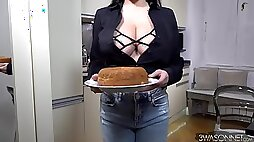 Wendy Fiore - monster tits with big nipples in the kitchen