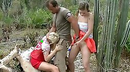 Amazing Outdoor Threesome With Kinky Babes