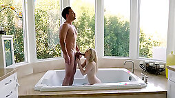 Lily Rader seduces her stepbrother while he is taking a bath