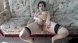 Horny mom Wanilianna strips and masturbates on the couch
