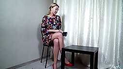 Posing and stripping on her own slutty Sunshine finally tickles her wet pussy