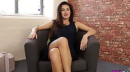 Astonishing brunette Laura is all alone and enjoys stripteasing a bit