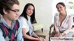 Stepmom loves threesome sex